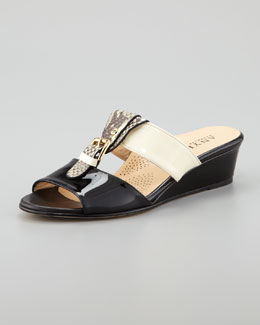 Anyi Lu Lucy Buckled Low Wedge Slide Sandal