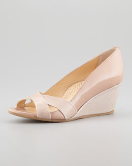 Anyi Lu Daphne Crisscross Low Wedge, Bisque