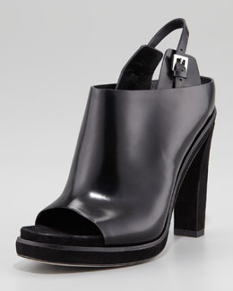 Alexander Wang Kendra Open-Toe Polished Leather Mule, Black