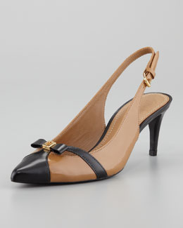 Tory Burch Samara Pointed-Toe Slingback Pump, Sand/Black