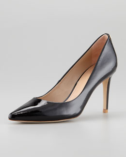 Tory Burch Ivy Pointed-Toe Patent Leather Pump, Black