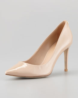 Tory Burch Ivy Pointed-Toe Patent Leather Pump, Beige