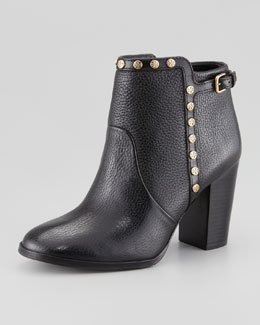 Tory Burch Mae Logo-Studded Ankle Boot, Black