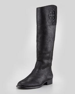 Tory Burch Kiernan Nubuck Logo Riding Boot