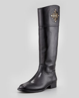 Tory Burch Kiernan Leather Logo Riding Boot, Black