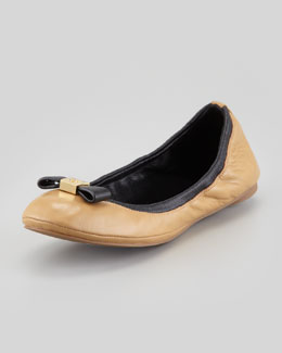 Tory Burch Eddie Logo Bow Two-Tone Ballerina Flat, Clay Beige/Black