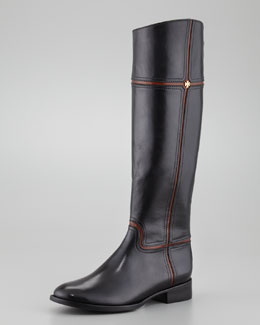 Tory Burch Juliet Two-Tone Riding Boot, Black/Almond