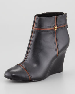 Tory Burch Juliet Two-Tone Wedge Bootie, Black/Almond