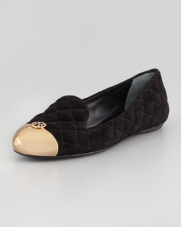 Tory Burch Kaitlin Quilted Suede Smoking Slipper, Black