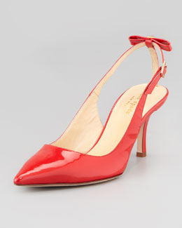 kate spade new york patent bow-back slingback pump