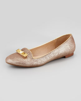 kate spade new york treat metallic smoking slipper, old gold