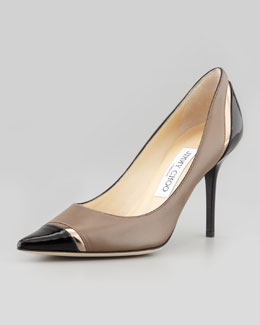 Jimmy Choo Lilo Cap-Toe Pump, Taupe/Light/Brown