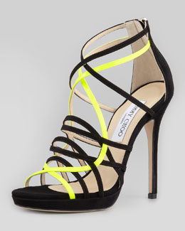 Jimmy Choo Myth Strappy Suede Sandal, Black/Yellow