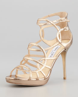 Jimmy Choo Bunting Glittered Metallic Sandal, Nude Mix