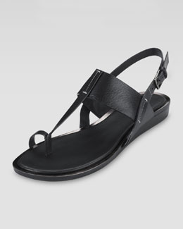 Cole Haan Pelham Flat Leather Sandal, Black