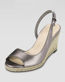Cole Haan Adelaide Metallic Leather Mid-Wedge, Gunsmoke