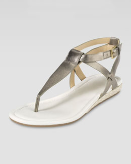 Cole Haan Grove Metallic Demi-Wedge Sandal, Gunsmoke