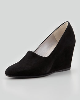 Aquatalia Stelli Stretch Suede Wedge, Black