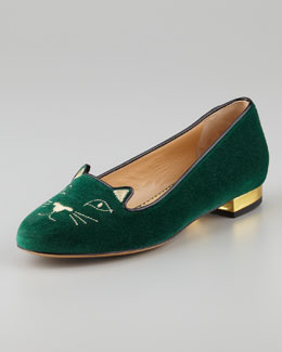 Charlotte Olympia Kitty Cat-Embroidered Velvet Slipper, Green