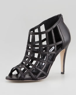 Manolo Blahnik Poslyna Leather Cage Sandal, Black