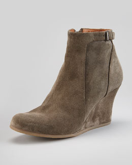 Lanvin Suede Wedge Ankle Boot, Gray