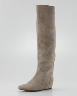 Lanvin Suede Wedge Knee Boot, Gray