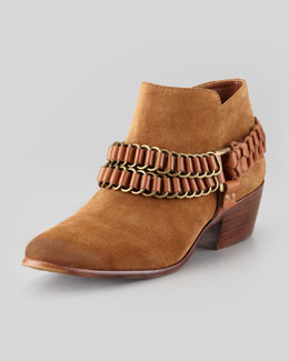 Sam Edelman Posey Chain-Trim Bootie, Whiskey/Saddle
