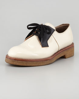 Marni Patent Leather Oxford, Black/Nude