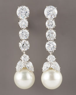 Fantasia by DeSerio Graduated Cubic Zirconia Drop Earrings