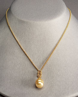 Majorica Pearl-Drop Necklace, Champagne