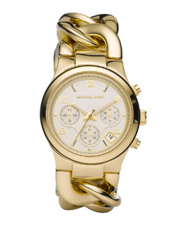 Michael Kors  Chain-Link Watch, Shiny Golden