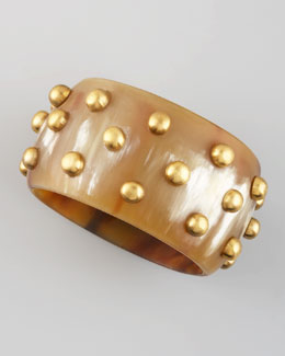 Ashley Pittman Studded Light Horn Bangle