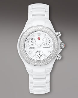 Michele Tahitian Diamond Ceramic Watch, White