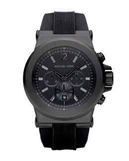 Michael Kors Silicone Chronograph Watch, Black