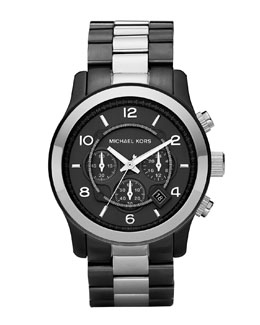 Michael Kors  Oversized Two-Tone Chronograph Watch, Gunmetal/Silver