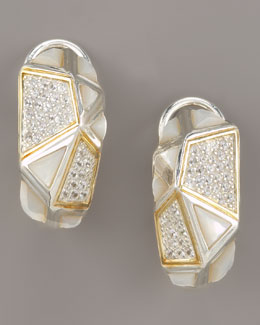 Kara Ross Mother-of-Pearl Omega Huggie Earrings