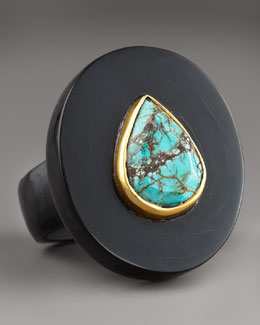 Ashley Pittman Turquoise and Dark Horn Ring