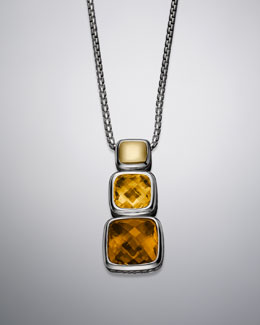 "David Yurman Chiclet Necklace, Citrine, 18""L, Small"