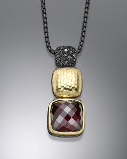 David Yurman Chiclet Necklace, Garnet