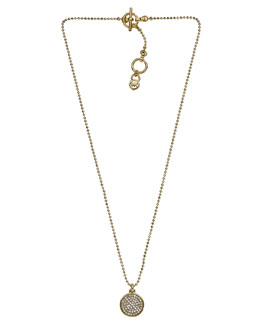 Michael Kors  Pave Disc Necklace, Golden