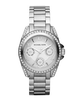 Michael Kors  Mini-Size Blair Multi-Function Glitz Watch, Silver-Color