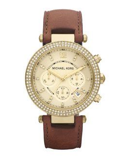 Michael Kors  Mid-Size Parker Chronograph Glitz Watch, Golden