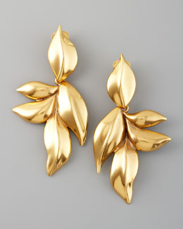 Oscar de la Renta Gold Leaf Clip Earrings