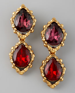 Oscar de la Renta Double-Drop Clip Earrings