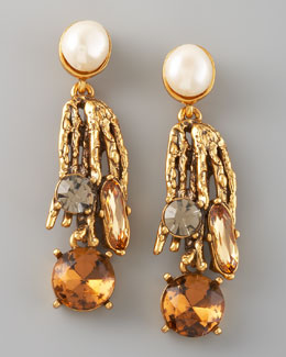 Oscar de la Renta Pearl-Detailed Branch Earrings