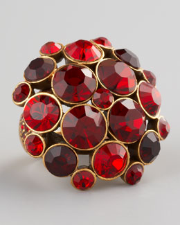 Oscar de la Renta Crystal Cluster Ring, Red