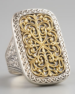 Konstantino Rectangle Filigree Ring