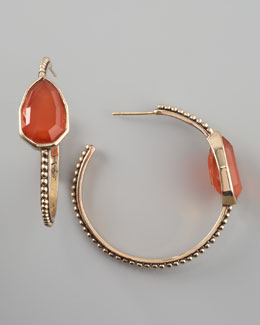 Stephen Dweck Red Agate Cathedral Hoop Earrings