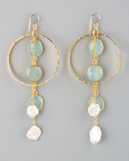 Devon Leigh Chalcedony & Pearl Drop Earrings