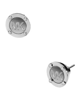 Michael Kors  Astor Stud Logo Earrings, Silver Color